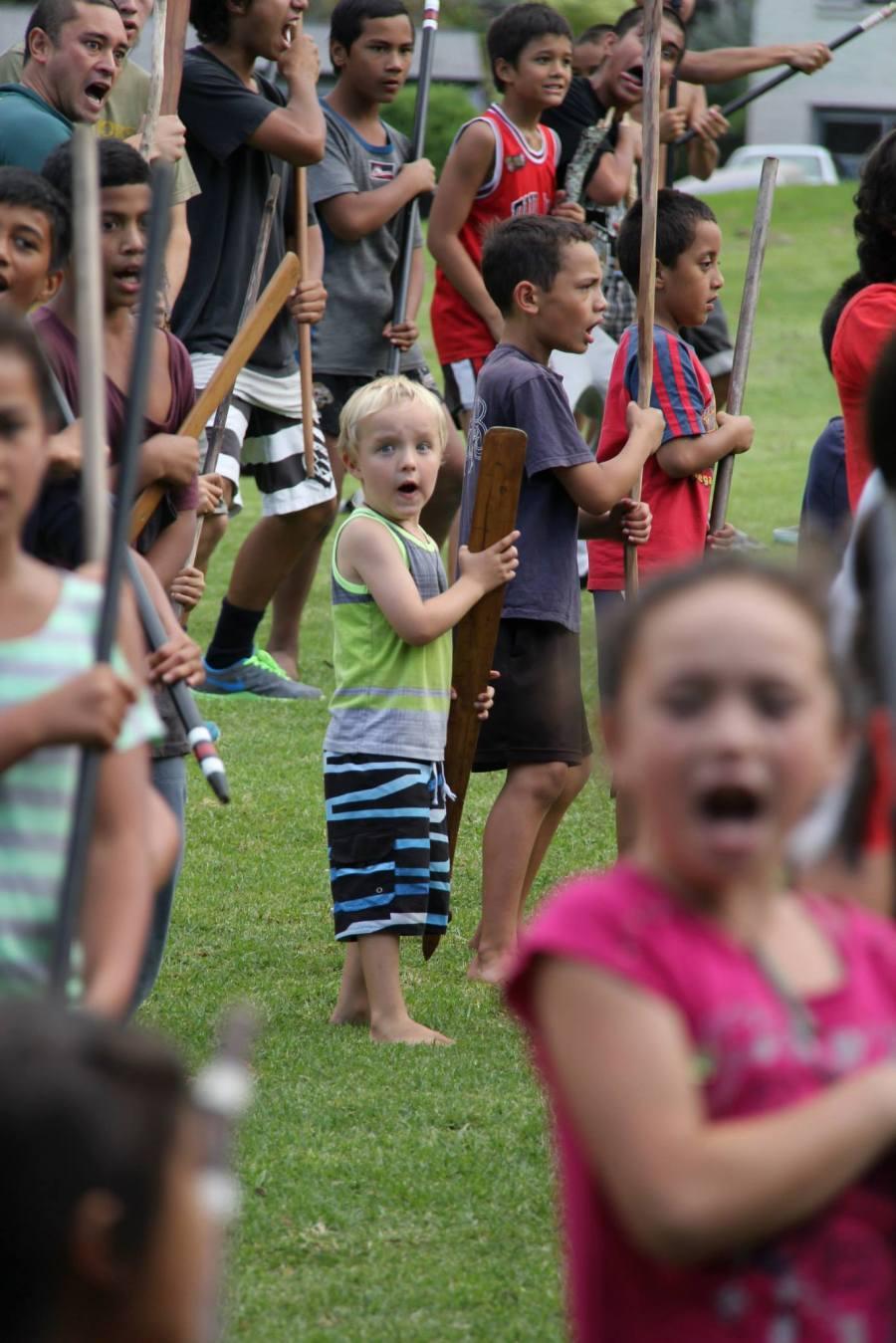 Te Kaponga Cameron on Pukehinahina, aged 5, sixth generation descendent of Te Pohoi Tahatika, a proud member of Pirirākau.